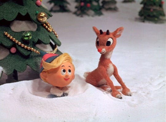 "Rudolph, right, meets a new friend, Hermey the Dentist, in a scene from the animated classic ""Rudolph the Red-Nosed Reindeer."""
