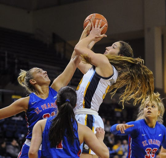 Marquette forward Chloe Marotta shoots against St. Francis-Brooklyn last season.