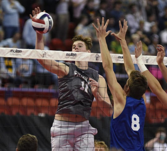 Franklin's Nicodemus Meyer goes up for a kill against Germantown during a WIAA state quarterfinal game on Nov. 7, 2019 at the Resch Center in Green Bay.