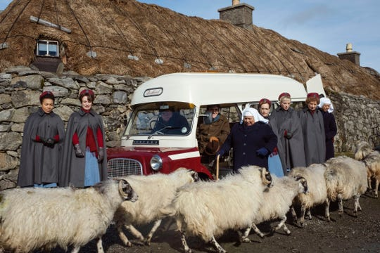 "The Outer Hebrides is the destination for the 2019 edition of the ""Call the Midwife"" Christmas special. The cast includes, besides the woolly friends in the foreground, from left: Leonie Elliott, Jennifer Kirby, Cliff Parisi, Stephen McGann, Miriam Margoyles, Laura Main, Helen George, Linda Bassett and Jenny Agutter."