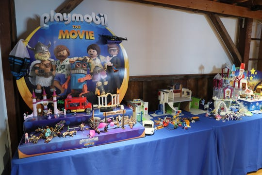 "The Playmobil showroom at The Smiley Barn showcases many toy sets related to ""Playmobil: The Movie,"" which comes out in December."