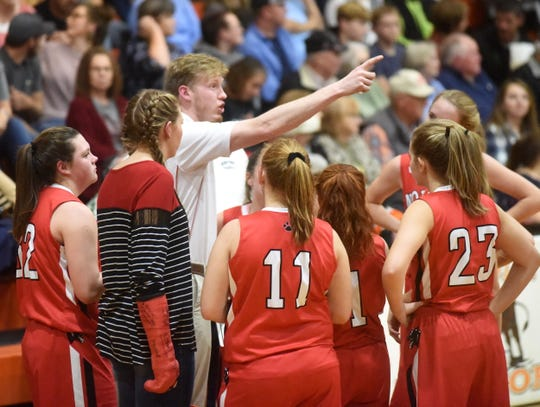 Norfork head coach Will Stewart instruct his senior girls during a recent game at Viola. The Lady Panthers took a non-league win over Cotter on Thursday night.