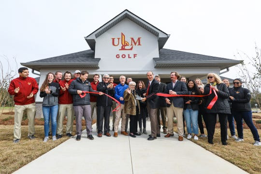 The ribbon-cutting and grand opening of ULM's Wallace Jones Golf Complex was held Friday, November 8, 2019. Wally Jones was golf coach for 18 years and was instrumental in advancing the ULM golf program.