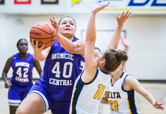 Muncie's Marissa Quiroz shoots past Delta's defense during their game at Delta High School Thursday, Nov. 7, 2019.