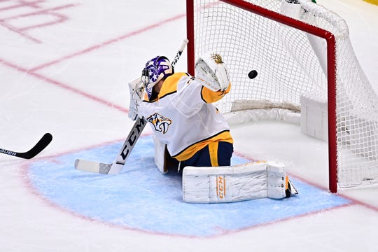 Nashville Predators goaltender Juuse Saros (74) allows a goal in the second period against the Colorado Avalanche on Nov. 7, 2019.