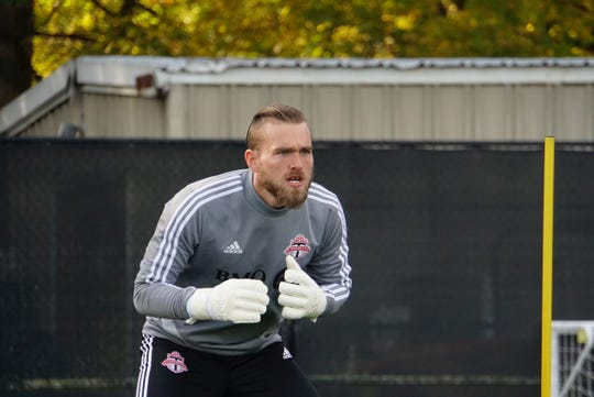 Toronto FC goalkeeper Caleb Patterson-Sewell focuses in at training session in Seattle ahead of 2019 MLS Cup against Seattle Sounders FC.