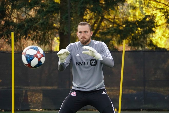 Toronto FC goalkeeper Caleb Patterson-Sewell sharpens reflexes in ball drills ahead of 2019 MLS Cup
