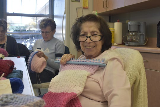 The Ashland City Loomers meet at the local senior center to make hats, scarves and other items to support veterans, police and fire departments, kids in local schools and others.