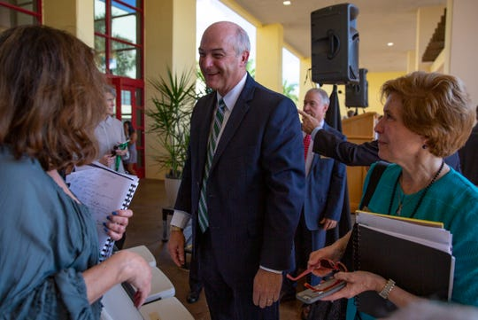 Christopher Ice, 56, was introduced as the next president of Ave Maria University during an announcement ceremony, Friday, Nov. 8, 2019, at the Bob Thomas Student Union. Ice will assume his new role as president in January.