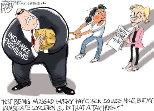 Warren and health insurance costs.