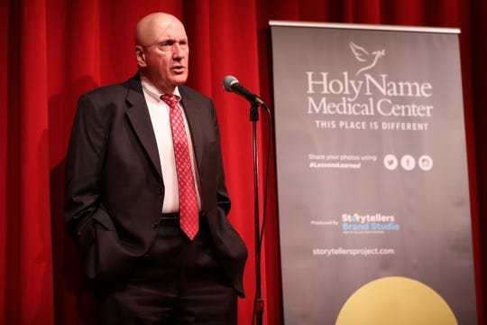 Dr. David Butler, physician at Holy Name Medical Center, spoke of his 27 years of volunteer service at Hôpital Sacré Coeur in Milot, Haiti, during the Storytellers Brand Studio event held at The Little Firehouse Theatre in Oradell, New Jersey.