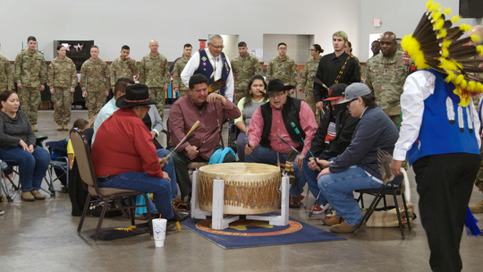 """A scene from """"The Warrior Tradition"""" shows the Comanche Indian Veterans Association Celebration and Powwow."""