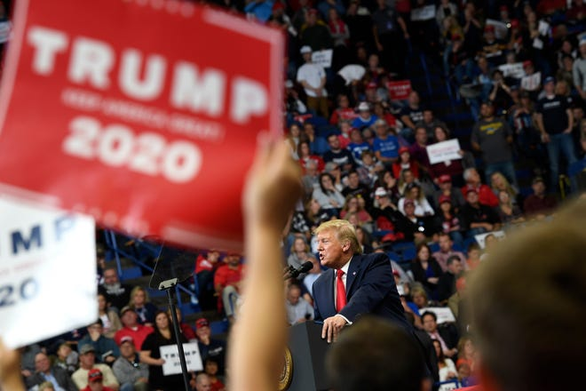 In this Nov. 4, 2019, file photo President Donald Trump speaks during a campaign rally in Lexington, Ky.