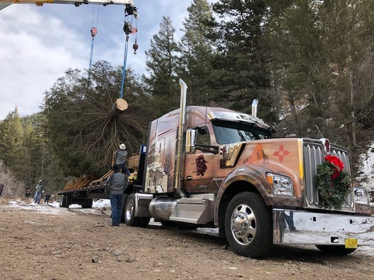 The 60-foot blue spruce is situated on Nov. 6 for transportation from Carson National Forest to Washington, D.C.