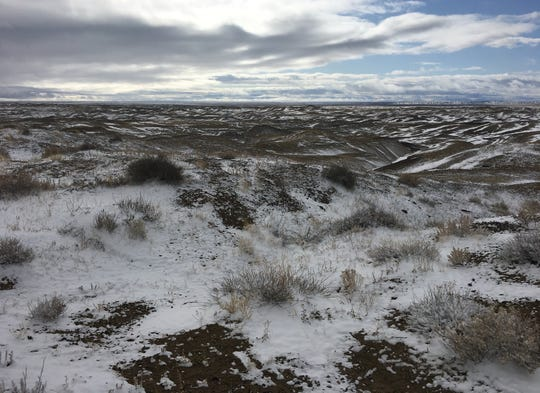 A dusting of snow covers the ground near Navajo Route 5 in the Tiis Tsoh Sikaad Chapter on Oct. 28, but that little bit of moisture did little to improve San Juan County's drought conditions.