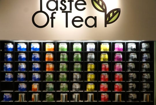 Taste of Tea in Novi's Twelve Oaks Mall has a colorful display of its tea selections in large containers behind the counter.