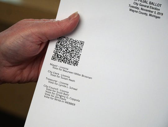 The Voter Assisted Terminals produce a printed ballot, like this sample, that are then scanned in like the regular paper ballots filled out by voters.