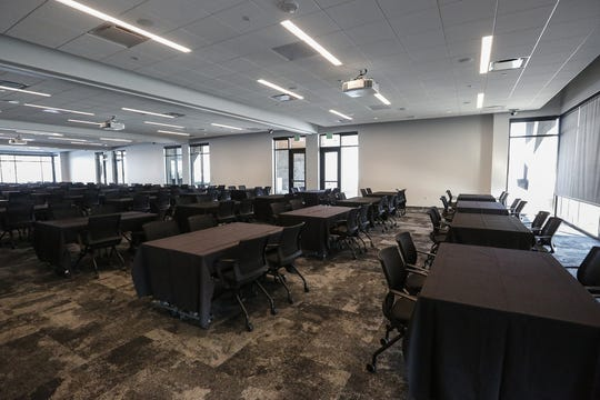 A large meeting room Thursday, Nov. 7, 2019 in the new Oshkosh Corporation headquarters building at 1917 Four Wheel Drive in Oshkosh, Wis. The room will be available to the public in January 2020.