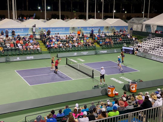 Doubles action was contested on many of the 49 match courts Thursday at the Margaritaville USA Pickleball National Championships at the Indian Wells Tennis Garden.