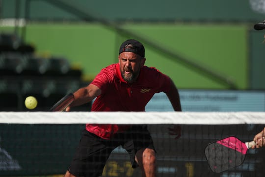 Steve Deakin competes at the Margaritaville USA Pickleball National Championships on Thursday at the Indian Wells Tennis Garden.