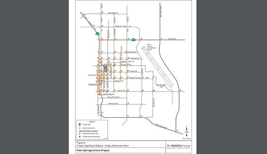"""This map shows what intersections are proposed to have """"significant effects"""" from arena traffic in the hour following a Friday night event, per a Nov. 4, 2019 report."""