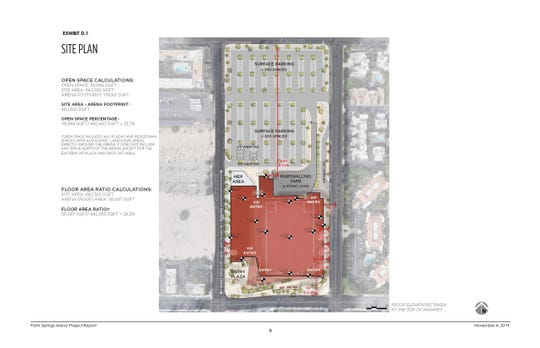This site plan shows where the proposed arena will be built and the proposed on-site parking, per a Nov. 4, 2019 project report.