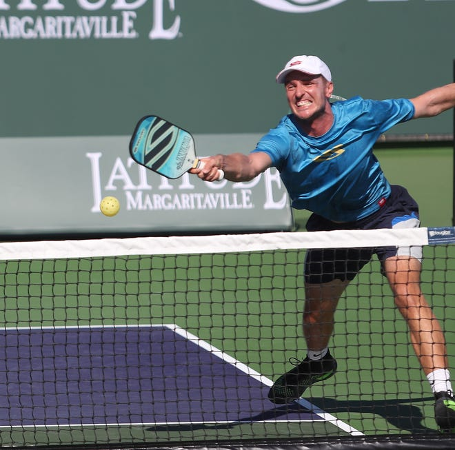 Andrei Daescu competes in the men's doubles professional pickleball match during the Margaritaville USA Pickleball National Championships at the Indian Wells Tennis Garden, November 8, 2019.