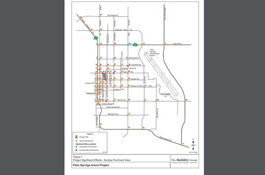 This map shows where traffic is estimated to have significant effects in the hour before an event on a Sunday at the proposed arena, per a Nov. 4, 2019 planning report.
