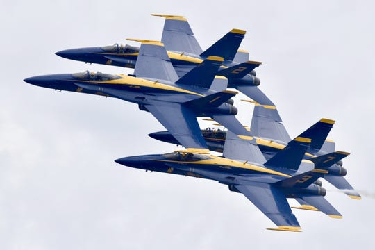 The Blue Angels soar above crowds at the Blue Angel Homecoming Air Show on Friday, Nov. 8, 2019.