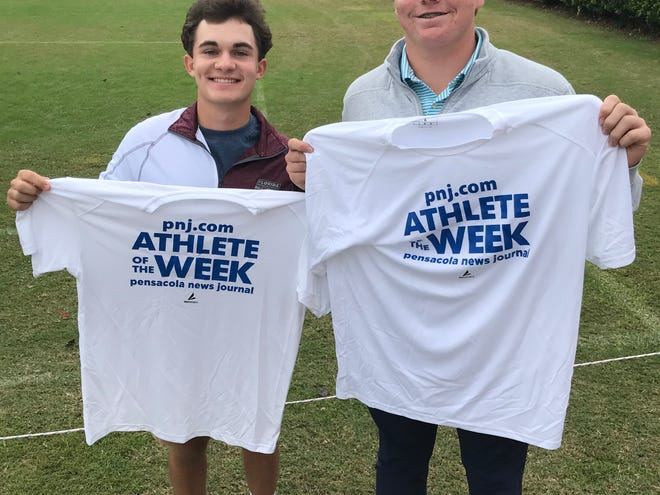 Pensacola Catholic golfers Nicholas Dimitroff (left) and Justin Burroughs (right) claimed the last two PNJ Athlete of the Week honors after performances at the region and state tournament.