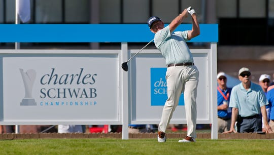 Jeff Maggert hits a tee shot on the first hole during the first round of the Charles Schwab Cup Championship at Phoenix Country Club on November 07, 2019 in Phoenix, Arizona.