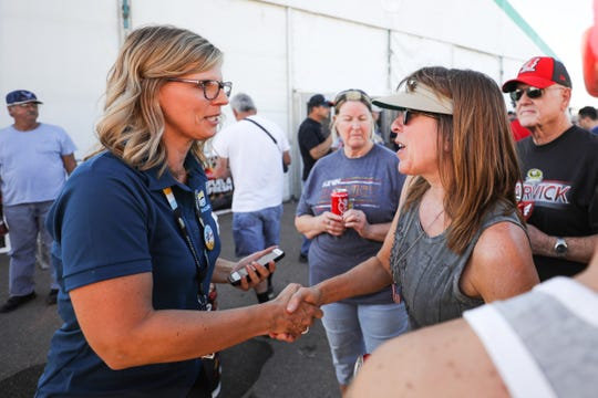 ISM Raceway President Julie Giese talks with campers on Nov. 7, 2019 at ISM Raceway in Avondale, AZ. (Brady Klain/The Republic)
