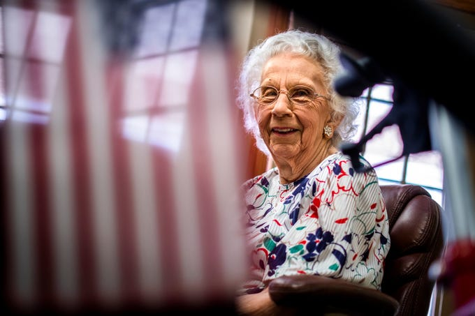 Gladys Pace, who served in the Army Air Forces from 1944 to the end of World War II, poses for a portrait at Fellowship Square senior living facility in Mesa on Nov. 7, 2019.