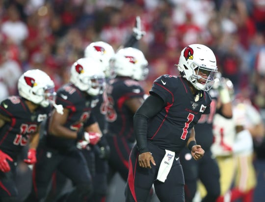 Cardinals quarterback Kyler Murray (1) takes the field during a game against the 49ers on Oct. 31 at State Farm Stadium.