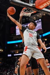 Mar 27, 2019; Atlanta, GA, USA; West Team's Isaiah Mobley (15) goes to the basket against the East Team during the second half of McDonald's All American Games at State Farm Arena.