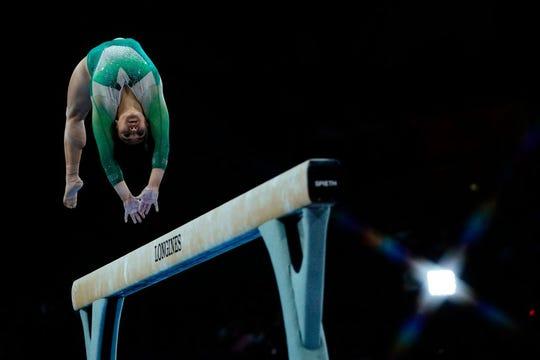La gimnasta mexicana Alexa Moreno en una de sus rutinas.
