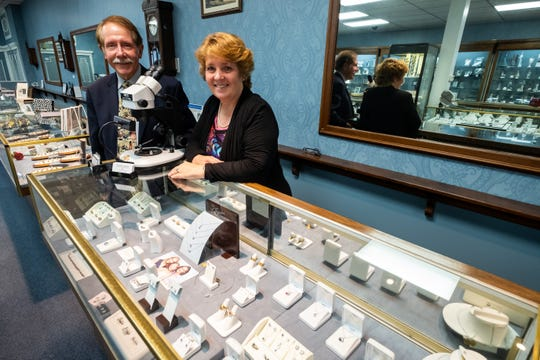 Bill Mosher, left, poses for a photo inside Mosher's Jewelers with his sister Emily Mosher Wallace Friday, Nov. 6, 2019, in the downtown store. Bill and Emily operate the business together.