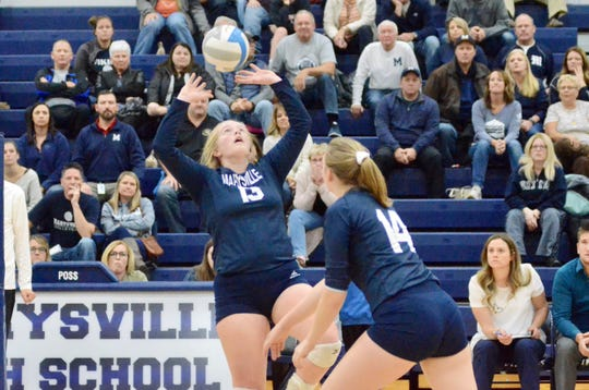Marysville's Joeleen Gaffney sets the ball against Algonac during the Division 2 volleyball district championship on Thursday, Nov. 7, 2019.