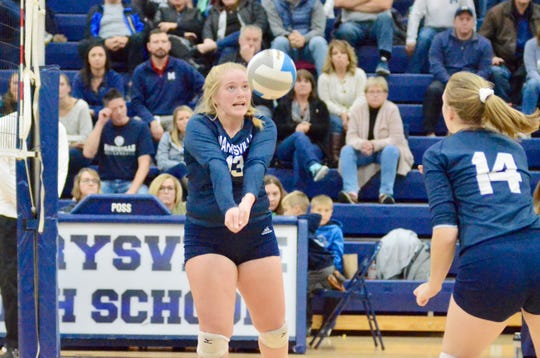 Marysville's Joeleen Gaffney bumps the ball against Algonac during the Division 2 volleyball district championship on Thursday, Nov. 7, 2019.