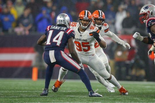 Browns edge rusher Myles Garrett has 10 sacks, second-most in the NFL.