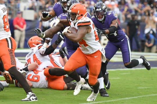 Cleveland Browns running back Nick Chubb is averaging 100 yards rushing per game this season.