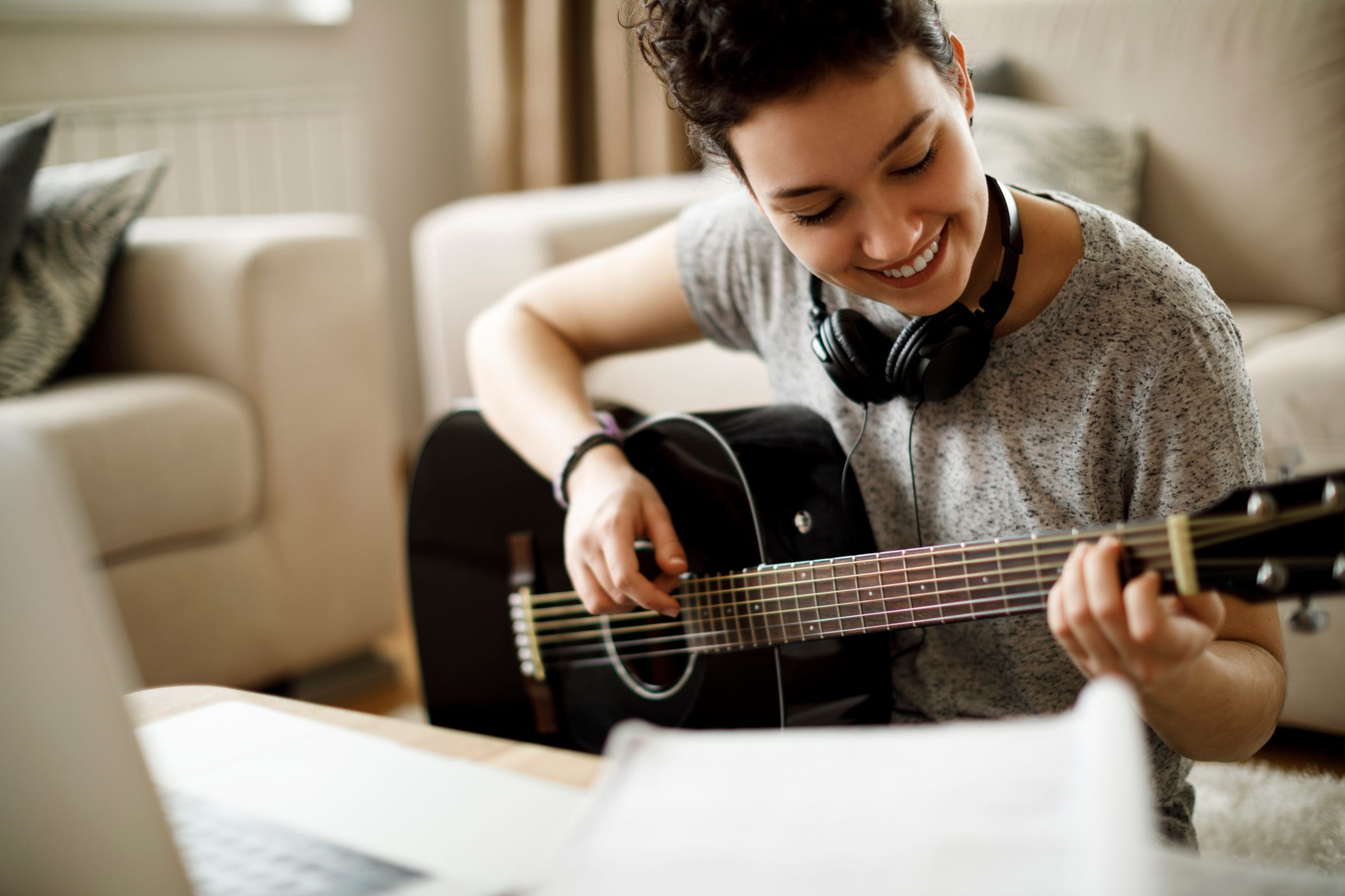Self-care can be practiced in a number of ways, including starting a new hobby or learning a musical instrument.