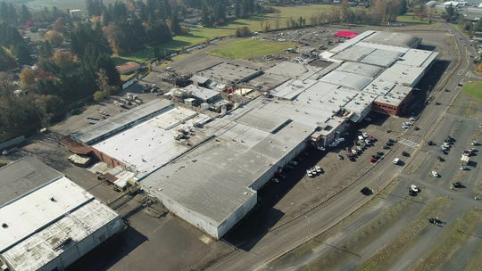 Aerial photo of the NORPAC Foods' processing plant in Stayton.