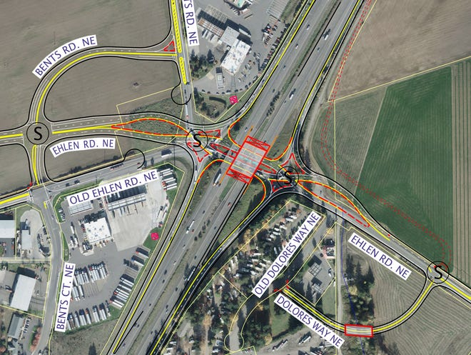 The diverging diamond interchange design proposed for the Aurora-Donald Interchange on Interstate 5.
