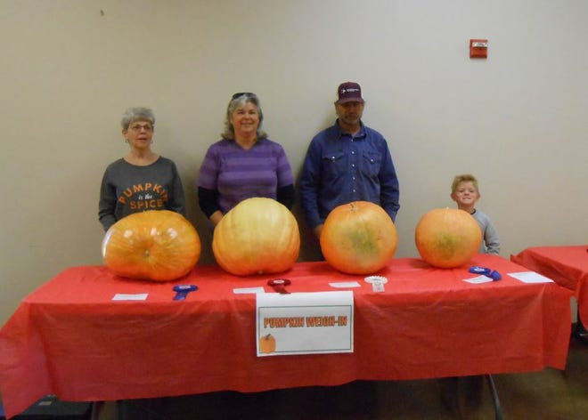 Winners of the Giant Pumpkin contest at this year's Pumpkin Festival were (left to right) First place, Beth Lucker, 51 pounds; second place, Christy Franke, 41.8 pounds; third place, Gene Franke, 40.6 pounds; Youth division winner Marshall Van Sickle, 28 pounds. The festival is hosted by the People / Plant Connection in San Angelo. Christy Franke, 2nd place, 41.8 lbs