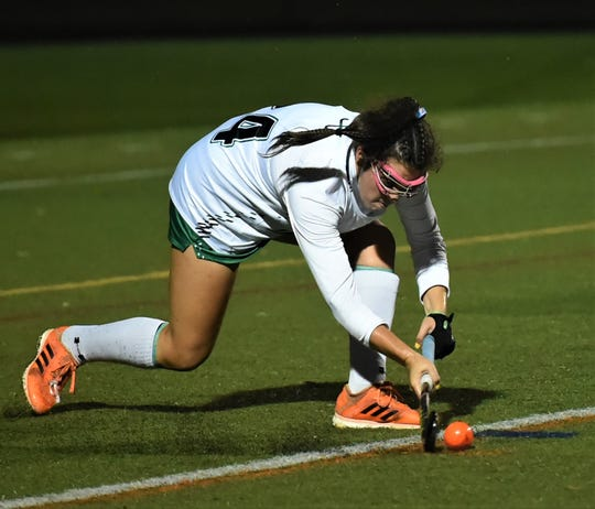 Parkside's Tenley Pelot sends in a corner during the 2A state semifinal game on Thursday, Nov. 7, 2019.