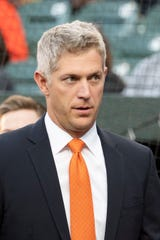 Apr 6, 2019; Baltimore, MD, USA;  Baltimore Orioles general manager Mike Elias stands on the field prior to the start of the Frank Robinson ceremony at Oriole Park at Camden Yards. Mandatory Credit: Tommy Gilligan-USA TODAY Sports