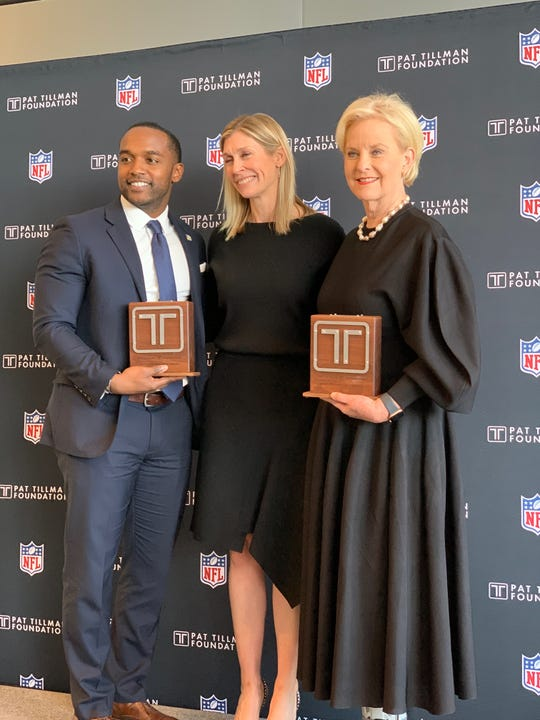 Shreveport Mayor Adrian Perkins is pictured with Cindy McCain (right) and Marie Tillman at the Tillman Foundation awards.