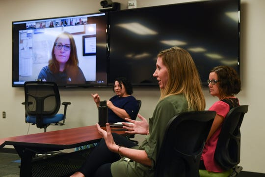 South Dakota School for the Deaf consultants meet to touch base on what they are doing across the state on Tuesday, Sept. 24, 2019 in Sioux Falls and via video conference.
