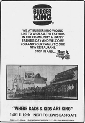 An advertisement announcing the opening of Burger King in 1975.